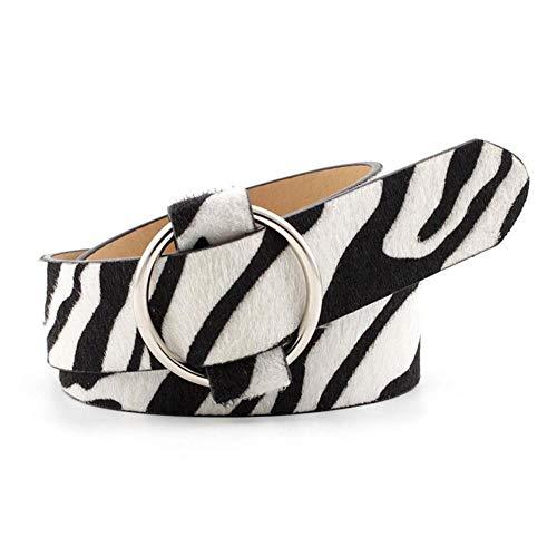 Cinturón de leopardo Sexy para mujer, estampado de serpiente de cebra Vintage, anillo circular de cuero PU, hebilla redonda de Metal, pretina decorativa para vestidos, pantalones vaqueros