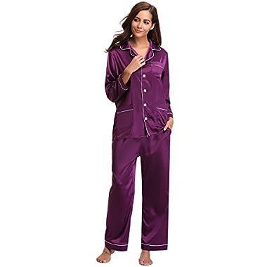 Aibrou Women's Satin Pajamas Set Long Sleeve and Long Button-Down Sleepwear Loungewear,Dark Purple,Medium