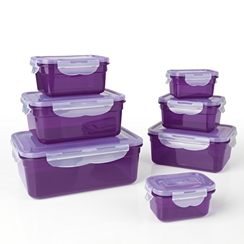 GOURMETmaxx - Set de Recipientes Herméticos para Alimentos, Púrpura, 25x 18x 17.5 cm, 14 Piezas