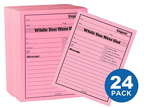 1InTheOffice Message pad While You were Out Pads, 4.25 x 5.5 Inches, Pink, 50 Sheets/Pad, 12 Pads/Pack, Pack of 2