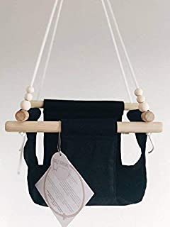 Indoor/Outdoor Black/Monochrome Fabric Baby Swing