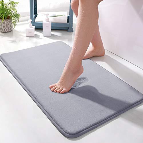 Memory Foam Bath Mat Absorbent Super Cozy Soft Non-Slip Coral Velvet Bathroom Rug Easier to Dry Machine Wash Bathroom Carpet