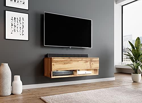 Furnix Alyx Meuble TV bas avec éclairage LED, 2 compartiments avec porte 'Push-Click', 2 étagères ouvertes en bas, montage mural possible