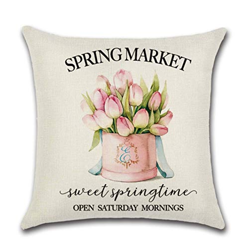 Linen Series Zl-10 Pink Cute Truck Spring Printed Cushion Cover Throw Pillow Cover Room Decoration for Home Car Sofa Sofa