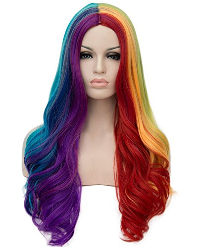 Tsnomore Long Wavy Curly multicolor wig rainbow wig Full Hair WigCosplay Party (Rainbow color)