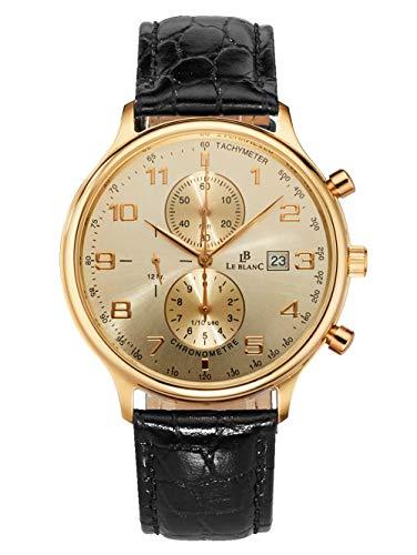 Le Blanc Herren Analog Uhr in 585 Gold (14 Karat) mit Armband in Schwarz aus Leder