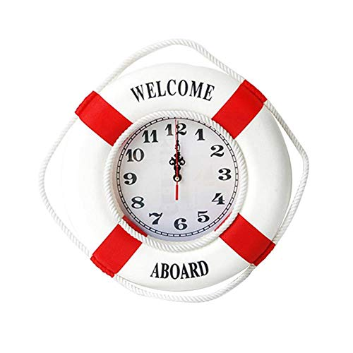 HENGCHENG Uhr Wand Wanduhr Wanduhren Mediterrane Wohnaccessoires Hängen Rettungsring Wanduhr Nicht Im Lieferumfang Enthalten Batterie (Rot 35Cm)