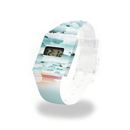CLOUDS - Pappwatch - Paperlike Watch - Digitale Armbanduhr im trendigen Design - aus absolut reissfestem und wasserabweisenden Tyvek® - Made in Germany, absolut reißfest und wasserabweisend