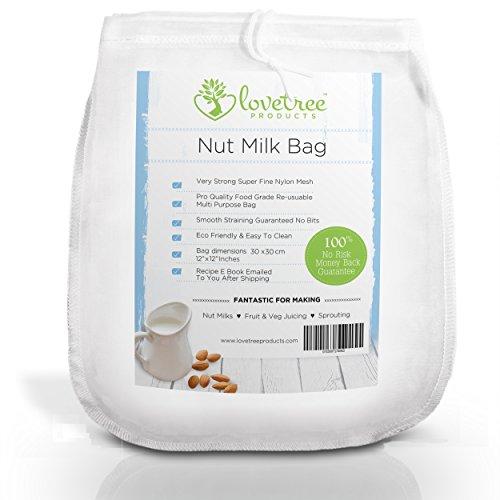 Premium Nussmilchbeutel - inkl. gratis Rezept-E-Book - wiederverwendbarer, robuster, extra feiner Nylon-Netz-Beutel - jederzeit cremige vegane Milch, samtige Smoothies und Säfte - Love Tree Products (12x12)