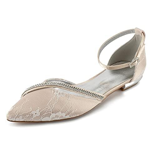Zapatos De Novia Boda Planos para Mujer Bailarinas De Encaje Correa De Tobillo Punta Cerrada Diamante Zapatos De Fiesta 5047-25C,Champagne,6 UK/39 EU