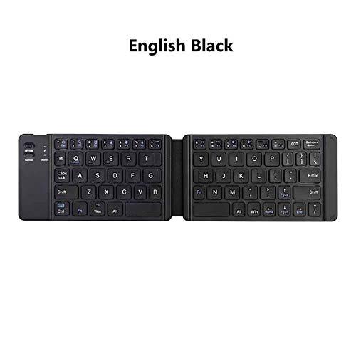 Yqs Teclado Luz del Teclado-práctico de Rusia/Inglés Bluetooth Plegable, Plegable Teclado Inalámbrico Tableta del teléfono (Color : English Black B05)