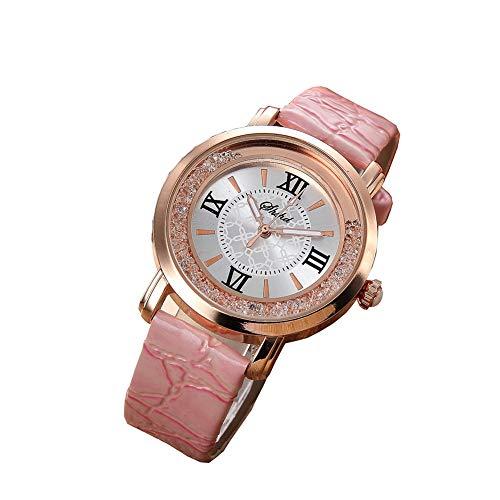 Mode luxe quartzhorloges, multifunctioneel horloge, dameshorloge voor dames met leren band en gouden roestvrijstalen kast Koop één weggeef één (willekeurig),Pink