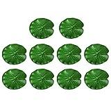 ALIANG 10 Uds Hojas de Loto flotantes Artificiales Adornos de Almohadillas de Lirio de Agua decoración de Estanque de follaje Artificial para decoración de Acuario de Piscina