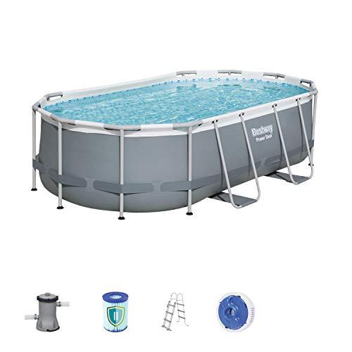 Bestway Power Steel Frame Pool oval mit stabilem Stahlrahmen im praktischen Komplett-Set, 427x250x100 cm
