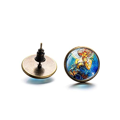 Arete Retro Alphonse Mucha Art Painting Ear Stud Estilo Art Nouveau Four Seasons Beauty Stud Pendiente Joyería De Cúpula De Cristal Hecha A Mano