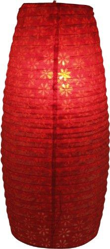 Guru-Shop Kleiner Ovaler Lokta Papierlampenschirm, Hängelampe Corona - Rot, Lokta-Papier, 42x22x22 cm, Asiatische Deckenlampen aus Papier & Stoff