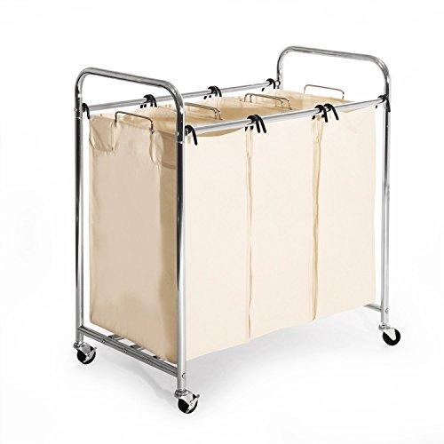 Seville Classics Heavy-Duty 3-Bag Laundry Sorter Cart (2 Pack)