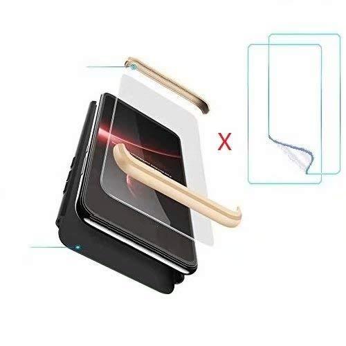hyujia Compatible OPPO F9/F9 Pro/A7x Funda(2018) Carcasa 360° Ultra Fina Protectora cojín+Vidrio Templado Pantalla Protector,3 in 1 PC Hard Caja Caso Skin Case Cover Carcasa para OPPO F9 Negro Oro