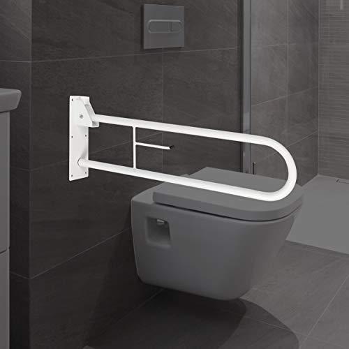 ONVAYA® Haltegriff für Bad & WC | Stützklappgriff aus Stahl | Wandgriff in weiß | Sicherheitsgriff für Senioren | Haltestange | Wandstützgriff | Aufstehhilfe