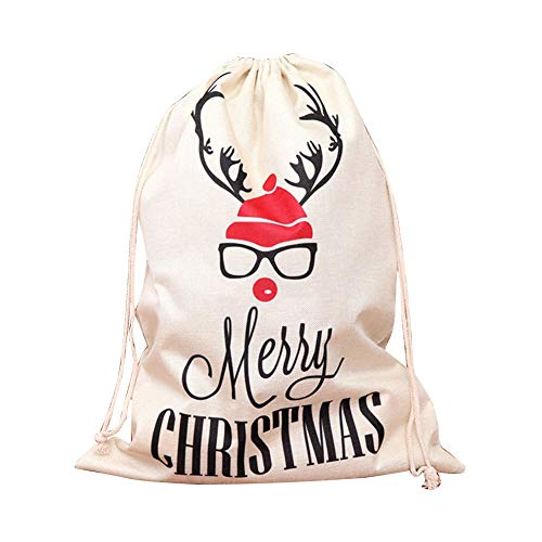BONYOUN Bag Large Drawstring Linen Candy Presents Storage Container for Christmas Halloween B