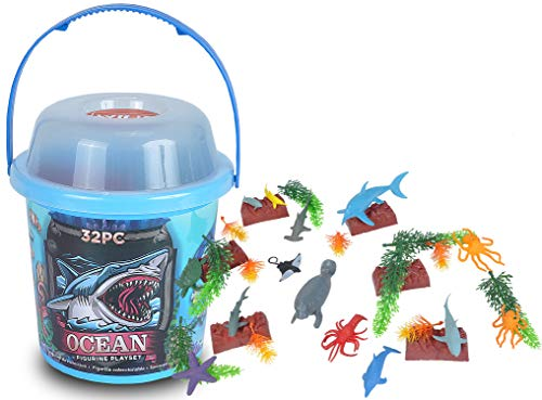 Wild Republic Aquatic Animals, Toy Figures, Kids Gifts, Ocean Theme Party Supplies, Sea Creatures, 32-Piece Collection