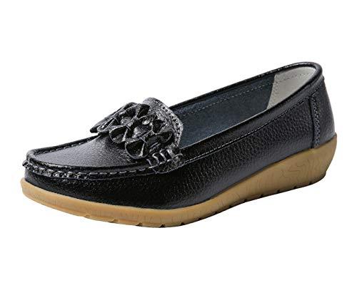 Gaatpot Flat Schuhe Damen Leder Bootsschuhe Mokassins Slipper Freizeit Halbschuhe,Schwarz,EU 39 =CN 40