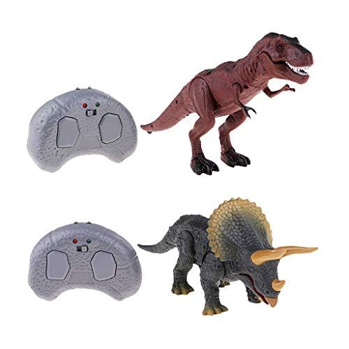 chiwanji 2 Piezas de Juguete de Dinosaurio de Control Remoto RC Luces Realistas Suena Muñecas de Avance Rápido, Juguetes Electrónicos de RC