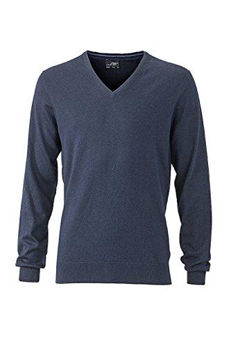 JAMES & NICHOLSON Hochwertiger Pullover mit Seide/Kaschmir-Anteil (3XL, navy-melange)