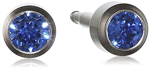Pure Grey Unisex-Ohrstecker Titan Zirkonia Erstohrstecker blau 309