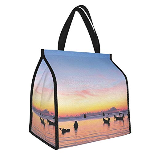 Fishing Decor Sunset On Sea With Silhouette Ships At Suratthani Asian Bay Relaxation Es Blue Yellow Coral Picnic Freezer Bag,Large Insulated Cooler Bag Picnic Camping Beach Tour Bbq 30l