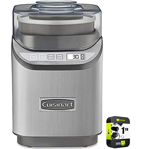 Cuisinart ICE-70 Electronic Ice Cream Maker Brushed Chrome Bundle with 1 Year Extended Protection Plan