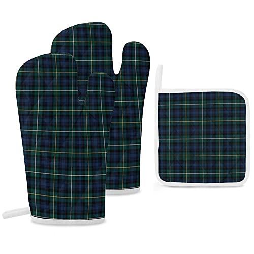 Clan Campbell Lot de 3 maniques de four et maniques Motif tartan écossais Bleu marine et vert Gants de cuisine antidérapants...
