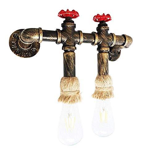 QLIGAH Lámpara de Pared de Cuerda de cáñamo Industrial Lámpara de Pared Vintage Sala de Estar, Barra de Loft Lámpara de Pared de Tubo de Hierro