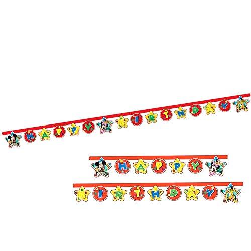 Mickey Mouse Feliz Cumpleaños Guirnalda   Bandera 2,1 m   Disney Niños Fiesta
