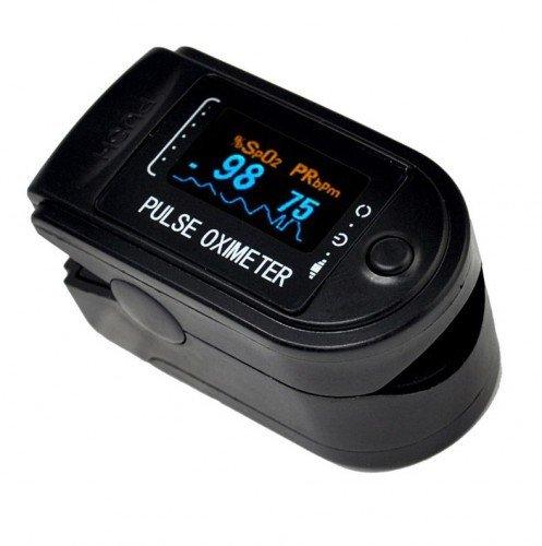 Pulsoximeter CMS 50 D - verschiedene Farben - viel Zubehör (Schwarz)