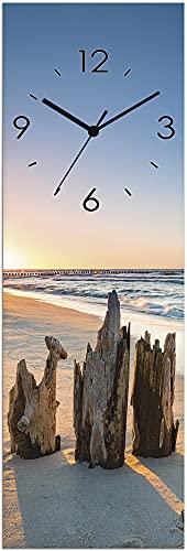 Artland Wanduhr ohne Tickgeräusche Glas Funkuhr 20x60 cm Rechteckig Lautlos Strandbilder Meer Sonnenuntergang Strand Maritim U1UI