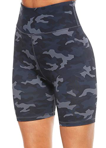 Persit Yoga Shorts for Women SpandexHigh Wasited Running Athletic Bike Workout Leggings Tight Fitness Gym Shorts with Pockets - Deep Grey Camo - L