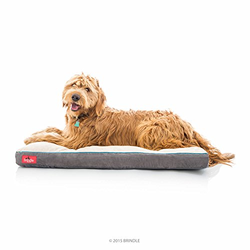 Brindle Soft Shredded Memory Foam Dog Bed with Removable Washable Cover, 40' x 26', Khaki