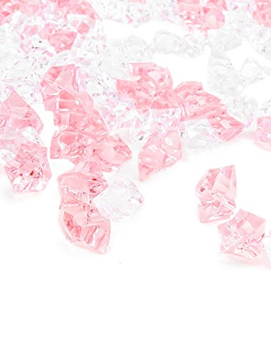 DomeStar Fake Crystals, 150PCS Acrylic Gems Pink and Transparent Rocks Plastic Diamonds Vase Rocks for Vase Fillers Party Table Scatter