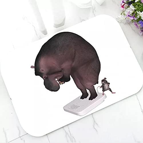 Alfombra de baño de hipopótamo con báscula de Peso Divertida, Estera de Puerta de Bienvenida para una Dieta, Felpudo Antideslizante, Alfombra, Alfombra, decoración del hogar de Animales 40x60 cm