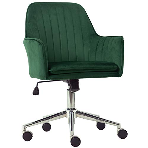 Golden Beach Velvet Fabric Home Office Chair Mid-Back Desk Chair Mordern Comfort Task Chair with Side Arms Adjustable Height Computer Chair Fit for Meeting and Reception (Green)