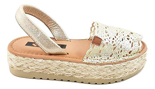 Timbos Zapatos - 122781 - Menorquina Plataforma Esparto, Verano para Mujer en Color Oro (Oro, Numeric_36)