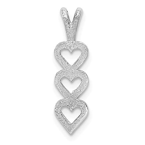 14k White Gold Triple Heart Pendant Charm Necklace Love Multiple Fine Jewelry For Women Gifts For Her
