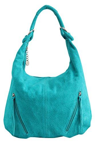 AMBRA Moda Damen Ledertasche Shopper Wildleder Handtasche Schultertasche Beuteltasche Hobo Tasche Groß WL822 (Türkis)