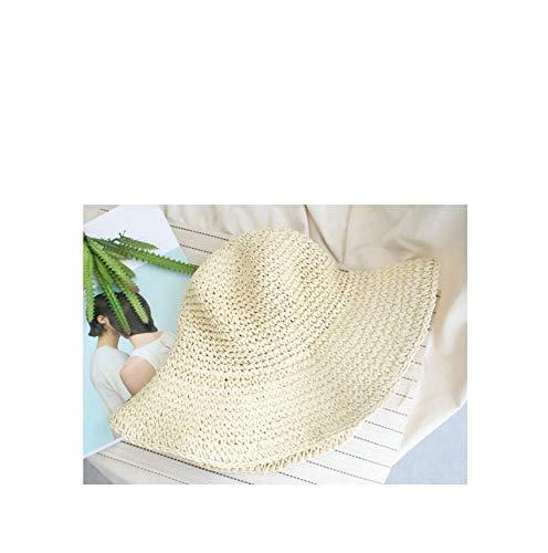 ZXL Hoed voor dames, zomer, hoed, zon, strand, panama, strohoed, brede golvende krimp, voor outdoor, vrije tijd, vakantie, cap vizier, hoed beige
