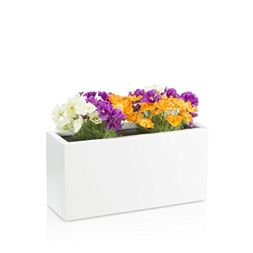 Maceta jardinera VISIO fibra de vidrio macetero - color: blanco mate - maceta grande resistente a...