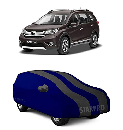 GANPRA Presents Water Resistant Dustproof Car Body Cover Compatible with Honda BR-V Model (Grey Stripes with Mirror)
