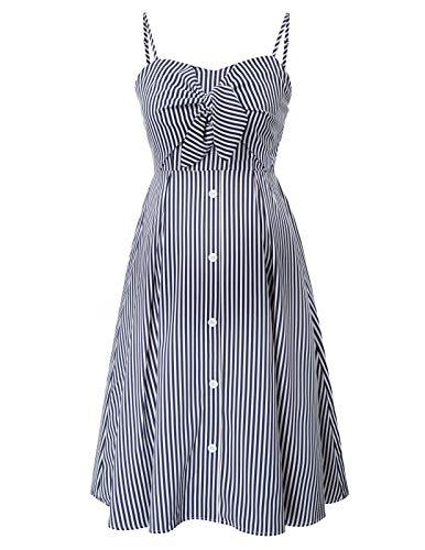 Maacie Vestido de Rayas con Botones para Premamá Vestido de Maternidad M Azul