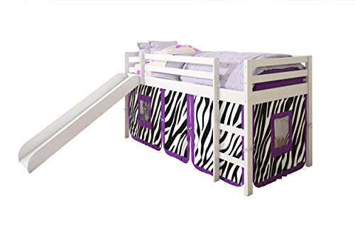 Donco Kids Loft Bed with Slide and Camo Tent, Twin, White
