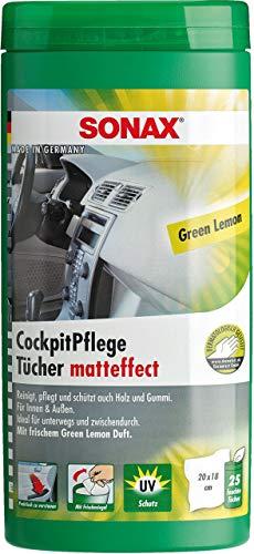 CM DESIGN Toallitas de limpieza para cabina de color verde mate en caja de limón.